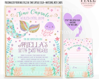 Mermaid Time Capsule First Birthday + Matching Note Card Mermaid Time Capsule Mermaid Time Capsule Sign Mermaid Birthday Mermaid Party