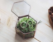 Moss Ring Box, Geometric Wedding Band Box, Ring Bearer Box, Glass Jewelry Box, Spring Wedding, Rustic Ring Box, Bridesmaid Proposal Gift Box