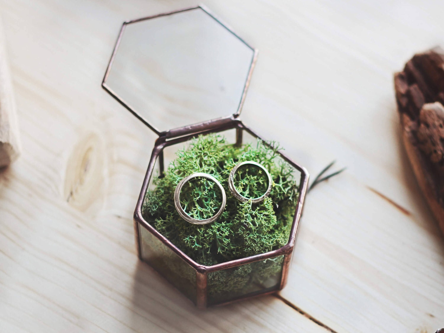 Moss ring box geometric wedding band box ring bearer box for Unique ring boxes