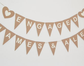 Personalised Name Engagement Party Bunting, Engaged Banner, Room Decoration, Rustic Wedding