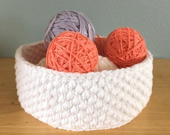 Handmade white cotton crochet storage basket bowl-cotton crocheted nursery storage-bath storage bin-gift basket-round cotton twine basket