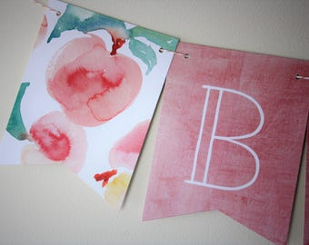 Peach Banner. Peach Theme. Peach Party. Bridal Shower. Baby Shower. New Baby. Birthday Party. First Birthday. Georgia Peach. Peaches. Spring