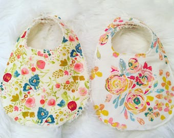 Set of Two Floral Traditional Bibs