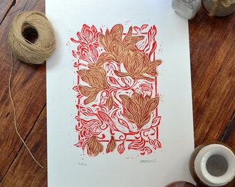 Magnolia in bloom - linocut print, red/gold, hand pulled, limited edition, floral art, British gardens