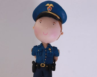 Policeman.  Personalize Figurine. Handmade. Fully customizable. Unique keepsake. Police, uniformed man.