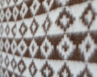 Vintage wool and mohair off-white and chocolate brown native american blanket w stripes, diamonds, and crosses