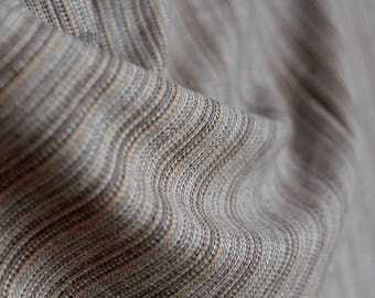Brown taupe gray cream striped high end wool -