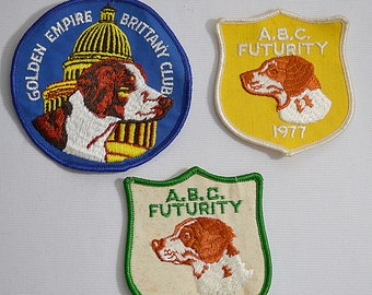 Vintage 1970s 3 Large Brittany Spaniel Dog Club Patches