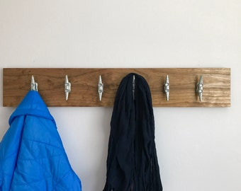 Nautical coat rack with 6 cleats