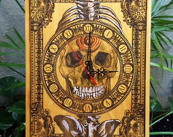 Skull Clock, Wood Clock, Skull Wall Decor, Wooden Clock, Wooden Wall Clock, Unique Wall Clock Skull Decor, Skull Art, Engraved Clock