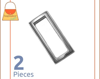 "1.5 Inch Rectangular / Square Flat Rings, Nickel Finish, 2 Pieces, Handbag Purse Bag Making Hardware, 1-1/2"" Rectangle, RNG-AA053"