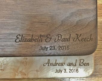 Personalized Cutting Board Engraved with Couples Names and Wedding Date or Anniversary Date in Walnut, Maple, Cherry or White Oak Wood