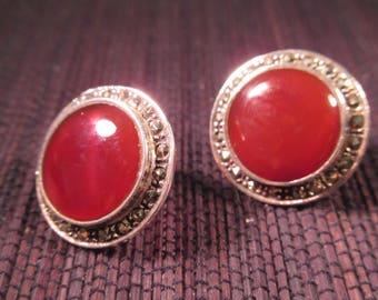 Retro Sterling Silver Red Gemstone Earrings