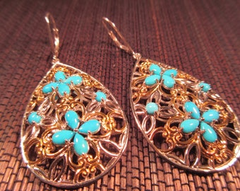 Cool Retro Sterling Silver Gold Wash Turquoise Earrings