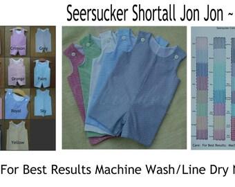 Jon Jon Seersucker Stripe Shortall Romper Embroidery Blank JJ01 MTO