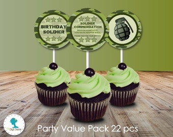 Military Army Party Printables Pack in Green Camouflage, Instant Download