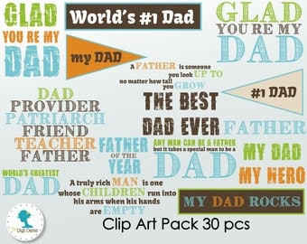 Father/Dad Digital Scrapbooking Clip Art, Buy 2 Get 1 FREE. Instant Download