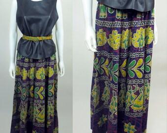 70s African robe wax print mosaic batik drawstring voluminous maxi skirt