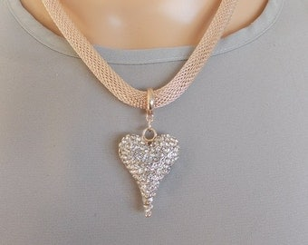 Rose Gold and Crystal Heart Magnetic Clasp Necklace