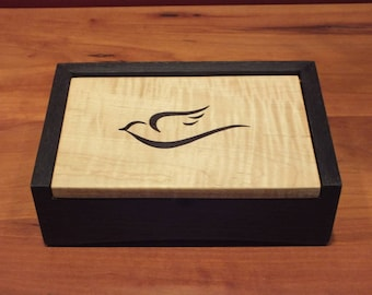 Dove Keepsake Box, Jewelry Box, Small, Curly Maple, Wooden box with lid