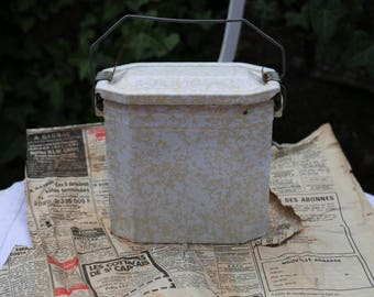 Original French Vintage 1940's yellow speckle enamel lunch can or pail. French Vintage Shabby Chic.