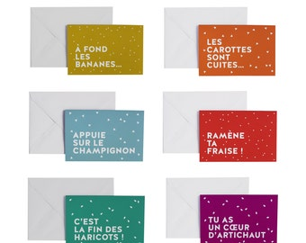 Funny greeting card to choose with french words about fruits and vegetables