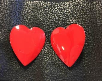 Love Red Heart Fun Earrings - Clip On