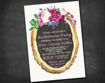 Rustic Bachelorette or Bridal Shower Invitation DIGITAL FILE