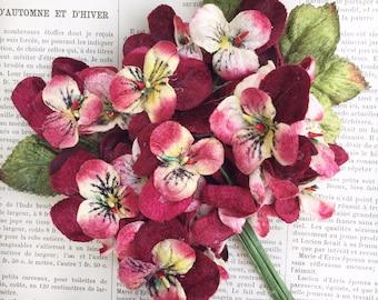 velvet flowers. velvet flower posy. velvet viola posy. vintage flowers. millinery flowers. velvet viola posy by Miss Rose Sister Violet.