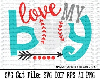 Baseball SVG, Baseball mom svg, Love my boy baseball cut file socuteappliques, silhouette cut file, cameo file, baseball sister cut file