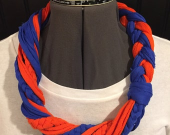Fabric remnant T-shirt necklace/scarf- orange and blue with mini braids