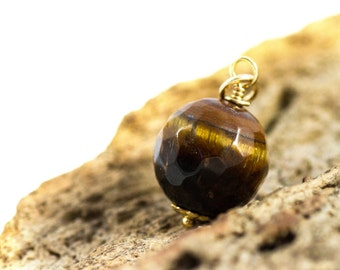 Tiger Eye Charm, 14k Gold Fill Tiger Eye Necklace, Tiger Eye Necklace, Delicate Tiger Eye Jewelry, Tiger Eye Pendant, Anxiety Jewelry, Reiki