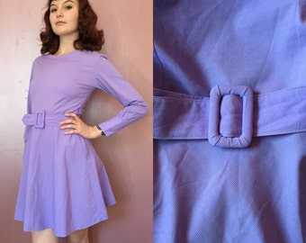 1960s Lavendar Belted Long Sleeve Dress/60s fit and flare dress small