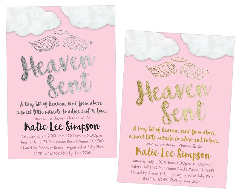 Pink Heaven Sent Baby Shower Invitations Pink Angel Wings