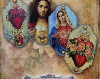 8 Small Sacred Heart Denim Tags