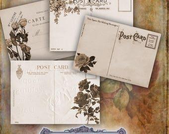 8 Tatty Sepia Floral Postcards