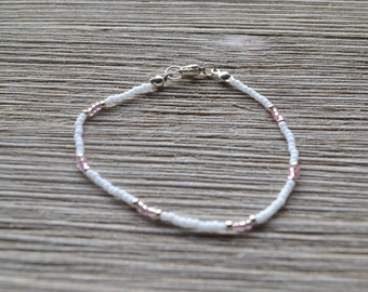Pink White Silver Glass Seed Bead Adjustable Bracelet