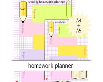homework planner A4 A5 - instant download - printable studentplanner - kawaii planner - commercial use allowed - school planner insert