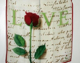 White Cream Silk Square Scarf LOVE Red Rose Romantic Love Token Valentine Gift Scarf Vintage Mint Condition 21 Inch Neck Scarf
