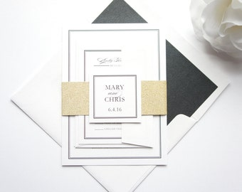 Classic Wedding Invitations, Black and Gold Wedding Invitation, Gold Glitter, Black Calligraphy, Formal Wedding Invitation Set - SAMPLE SET