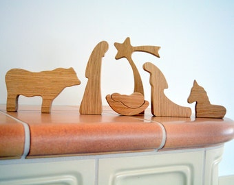 Wooden nativity set - OAK WOOD - Nativity scene - Wood nativity - Modern nativity set