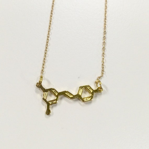 """Gold coloured red wine molecule necklace on 17"""" chain"""