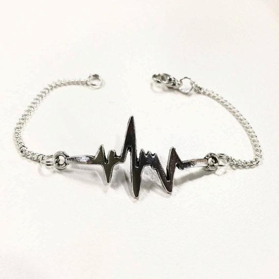 Heartbeat EKG /  ECG pulse silver bracelet - unique dainty charm
