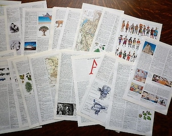 30 pages of vintage dictionary 1993 - ephemera pack paper collage, scrapbooking, mixed art ....