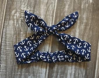 Anchor Headband - Anchor Print - Sailor Outfit - Sailor Headband - Rockabilly Headband - Sailor Baby Headband - Sailor Baby Shower