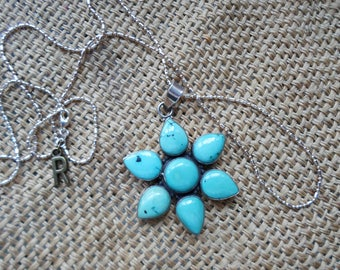 Authentic turquoise and sterling silver long pendant