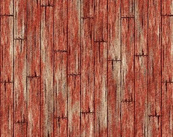 Friendly Visitors - Red Barn Board Fabric