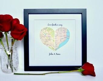 Long Distance Relationship Gift- Custom Map Gift for Couples, Framed Map Art, Long Distance Love Gift