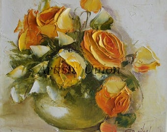 Yellow Roses Original Oil Painting Still life Impasto Palette knife Textured Flower Art Bouquet Floral Shabby Chic Europe Artist Signed OOAK