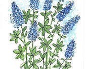 Original Artwork Watercolor and Ink Painting - Bluebonnets - Texas Flower - Abstract Style - Nature Art